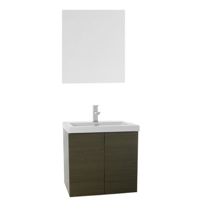 Space 23 Single Bathroom Vanity Set with Mirror Base Finish: Gray Oak