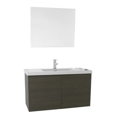 Space 39 Single Bathroom Vanity Set with Mirror Base Finish: Gray Oak