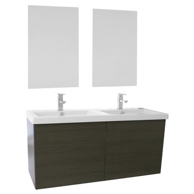 Space 47 Double Bathroom Vanity Set with Mirror Base Finish: Gray Oak