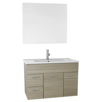 Loren 33 Single Bathroom Vanity Set with Mirror Base Finish: Larch Canapa