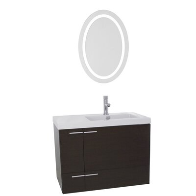 New Space 31 Single Bathroom Vanity Set with Mirror Base Finish: Wenge