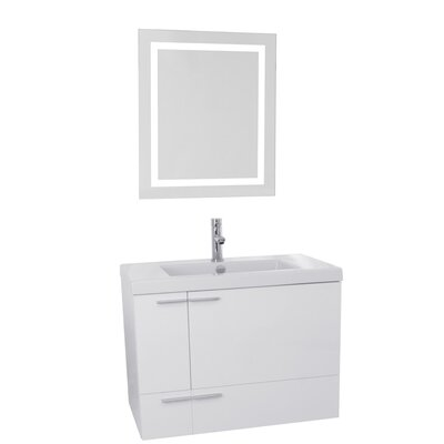 New Space 31 Single Bathroom Vanity Set with Mirror Base Finish: Glossy White