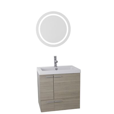 New Space 23 Single Bathroom Vanity Set with Mirror Base Finish: Larch Canapa