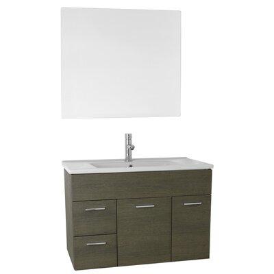 Loren 33 Single Bathroom Vanity Set with Mirror Base Finish: Gray Oak