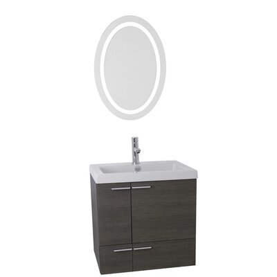 New Space 23 Single Bathroom Vanity Set with Mirror Base Finish: Gray Oak