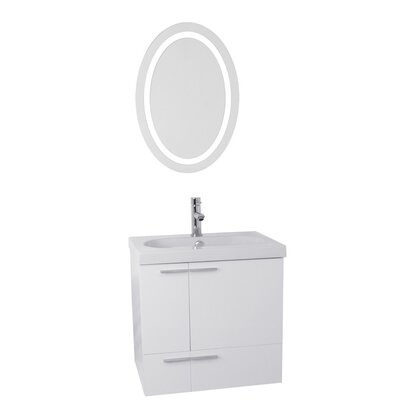 New Space 23 Single Bathroom Vanity Set with Mirror Base Finish: Glossy White