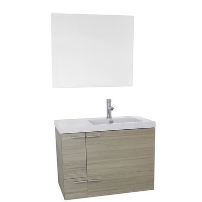 New Space 31 Single Bathroom Vanity Set with Mirror Base Finish: Larch Canapa