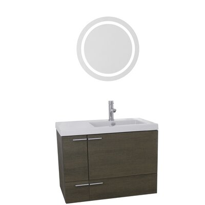 New Space 31 Single Bathroom Vanity Set with Mirror Base Finish: Gray Oak
