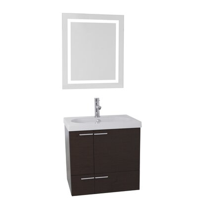 New Space 23 Single Bathroom Vanity Set with Mirror Base Finish: Wenge