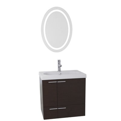 New Space 23 Single Bathroom Vanity Set with Mirror Base Finish: Wenge