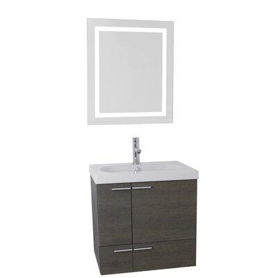 New Space 23 Single Bathroom Vanity Set with Mirror Base Finish: Gray Oak