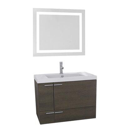 New Space 31 Single Bathroom Vanity Set with Mirror Base Finish: Gray Oak
