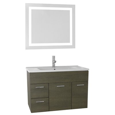Loren 33 Single Bathroom Vanity Set with Mirror Base Finish: Gray Oak