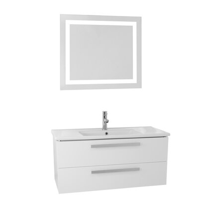 Dadila 38.2 Single Bathroom Vanity Set with Mirror Base Finish: Glossy White