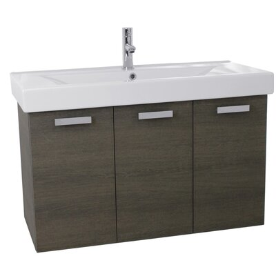 Cubical 39 Single Wall Mount Bathroom Vanity Set Base Finish: Gray Oak
