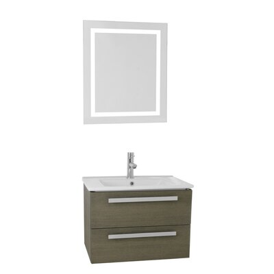 Dadila 24.4 Single Bathroom Vanity Set with Mirror Base Finish: Gray Oak