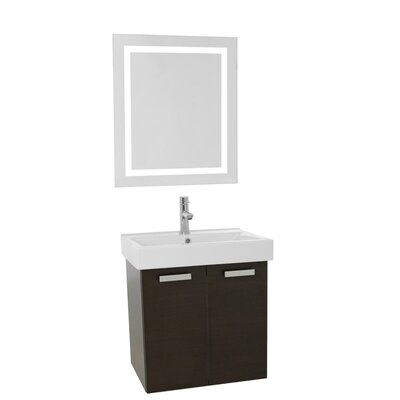 Cubical 23 Single Bathroom Vanity Set with Mirror Base Finish: Wenge