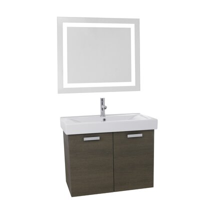 Cubical 39 Single Bathroom Vanity Set with Mirror Base Finish: Gray Oak