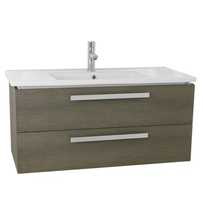 Dadila 32.7 Single Wall Mount Bathroom Vanity Set Base Finish: Gray Oak