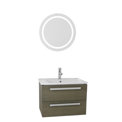 Dadila 25 Single Bathroom Vanity Set with Mirror Base Finish: Gray Oak