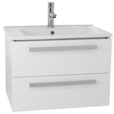 Dadila 25 Single Wall Mount Bathroom Vanity Set Base Finish: Glossy White