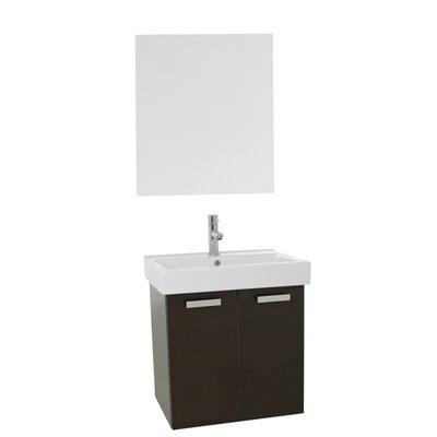 Cubical 23 Single Bathroom Vanity Set with Mirror Base Finish: Wenge