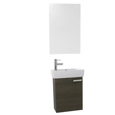 Cubical 19 Single Bathroom Vanity Set with Mirror Base Finish: Gray Oak