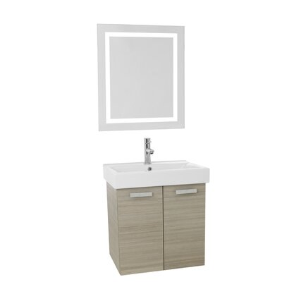 Cubical 23 Single Bathroom Vanity Set with Mirror Base Finish: Larch Canapa