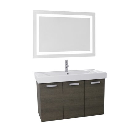 Cubical 39.4 Single Bathroom Vanity Set with Mirror Base Finish: Gray Oak
