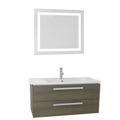 Dadila 38.2 Single Bathroom Vanity Set with Mirror Base Finish: Gray Oak