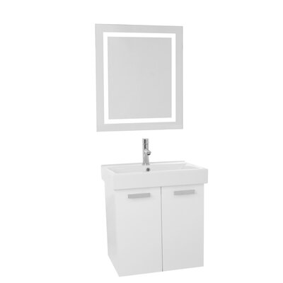 Cubical 23 Single Bathroom Vanity Set with Mirror Base Finish: Glossy White