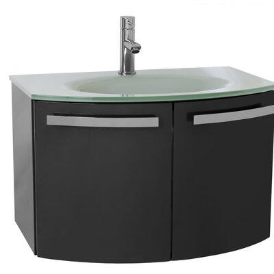 Crystal Dance 28 Single Bathroom Vanity Set Base Finish: Glossy White, Top Finish: Black
