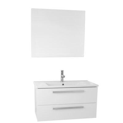 Dadila 33 Single Bathroom Vanity Set with Mirror Base Finish: Glossy White