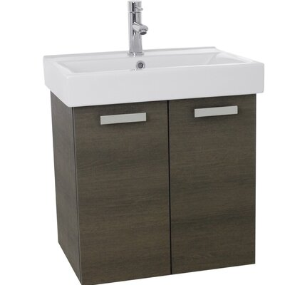 Cubical 24 Single Wall Mount Bathroom Vanity Set Base Finish: Gray Oak