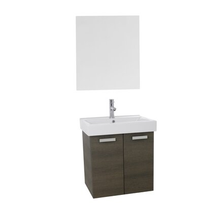 Cubical 23 Single Bathroom Vanity Set with Mirror Base Finish: Gray Oak