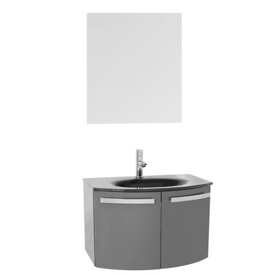 Crystal Dance 28 Single Bathroom Vanity Set with Mirror Base Finish: Glossy Anthracite, Top Finish: Black