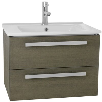 Dadila 25 Single Wall Mount Bathroom Vanity Set Base Finish: Gray Oak