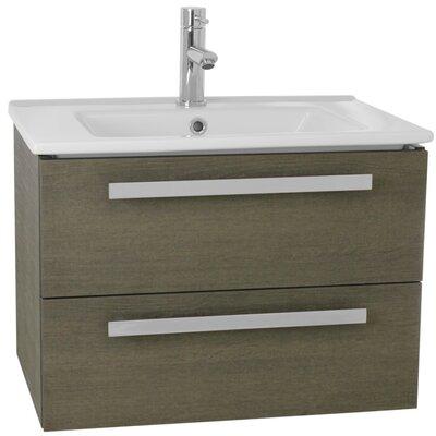 Dadila 25 Single Wall Mount Bathroom Vanity Set Base Finish: Gray Oak