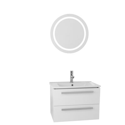 Dadila 25 Single Bathroom Vanity Set with Mirror Base Finish: Glossy White