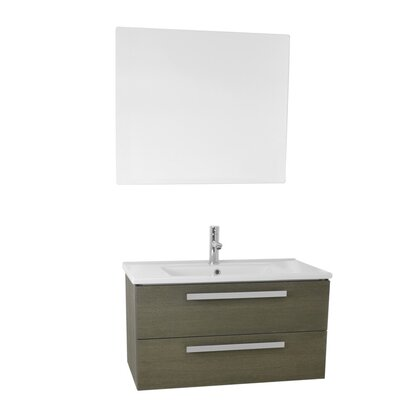 Dadila 33 Single Bathroom Vanity Set with Mirror Base Finish: Gray Oak