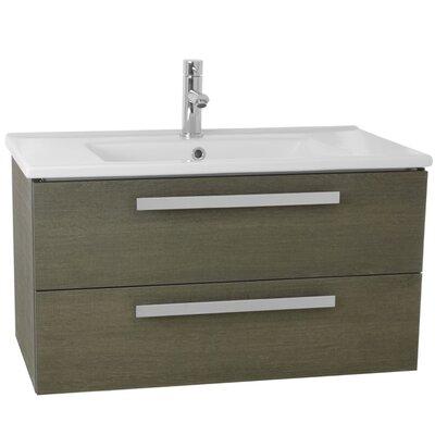 Dadila 33 Single Wall Mount Bathroom Vanity Set Base Finish: Gray Oak