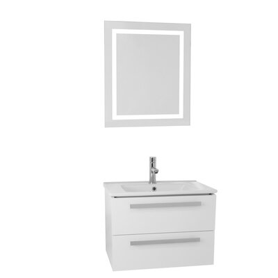 Dadila 24.4 Single Bathroom Vanity Set with Mirror Base Finish: Glossy White
