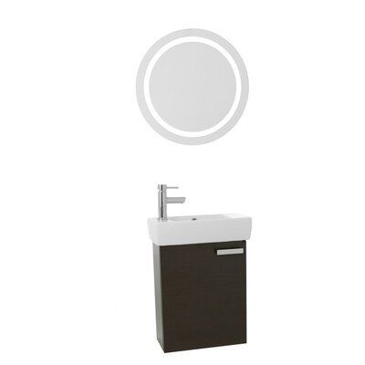 Cubical 19 Single Bathroom Vanity Set with Mirror Base Finish: Wenge