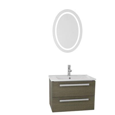 Dadila 24.4 Single Bathroom Vanity Set with Mirror Base Finish: Gray Oak