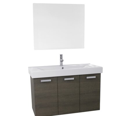Cubical 31.5 Single Bathroom Vanity Set with Mirror Base Finish: Gray Oak