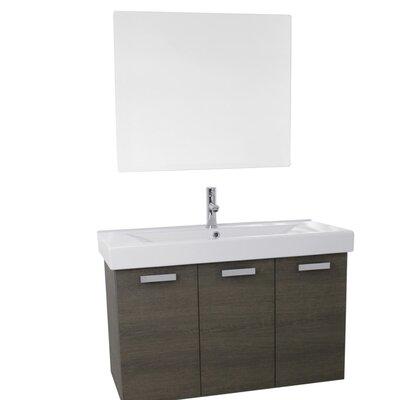 Cubical 31.5 Single Bathroom Vanity Set with Mirror Base Finish: Gray Oak