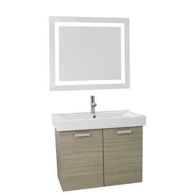 Cubical 39 Single Bathroom Vanity Set with Mirror Base Finish: Larch Canapa