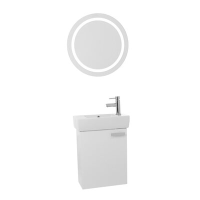 Cubical 19 Single Bathroom Vanity Set with Mirror Base Finish: Glossy White