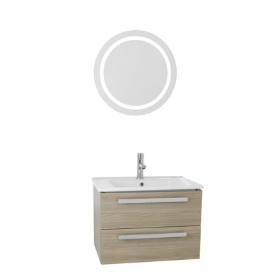 Dadila 25 Single Bathroom Vanity Set with Mirror Base Finish: Style Oak