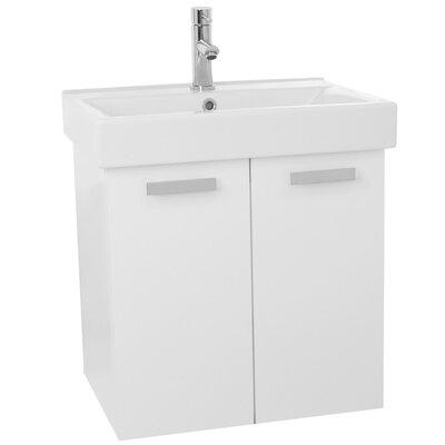 Cubical 24 Single Wall Mount Bathroom Vanity Set Base Finish: Glossy White